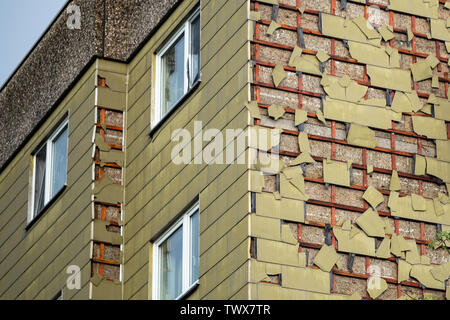 Hail damage to asbestic cladding of an older house - Stock Image