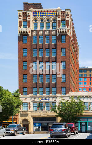ASHEVILLE, NC, USA-10 JUNE 18: The 1929 brick Public Service building which features Neo-Spanish Romanesque and Moroccan terra-cotta designs. - Stock Image