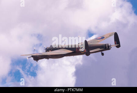 WWII veteran Royal Air Force Avro Lancaster bomber at the IWM Duxford Air Show. - Stock Image