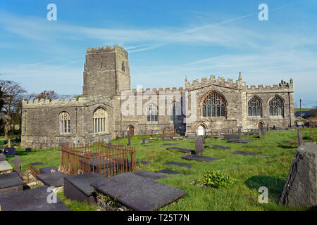 St Beuno's Church in Clynnog Fawr is the best example of a Tudor church in North Wales. It was erected some time between 1480 and 1486. - Stock Image