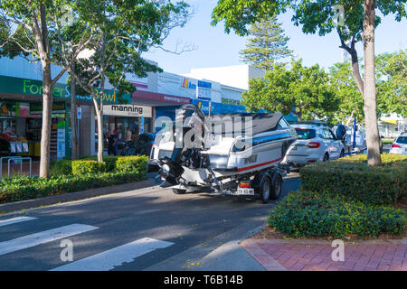 Forster, NSW, Australia-April 20, 2019: People enjoying the sunny weather in the city of Forster, a coastal town in the Great Lakes region of New Sout - Stock Image