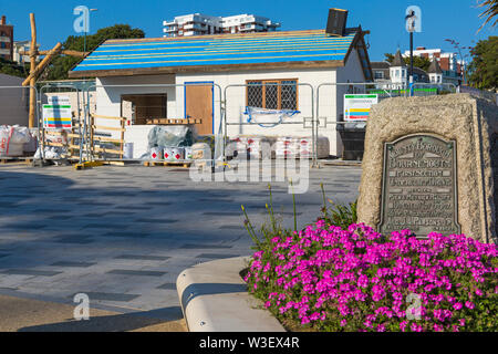 Construction of the new smuggler themed Adventure Golf Course at Pier Approach, Bournemouth, Dorset UK in July - Stock Image