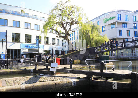 Looking across the Regents Canal by Camden Lock, in spring sunshine, in north London, UK - Stock Image