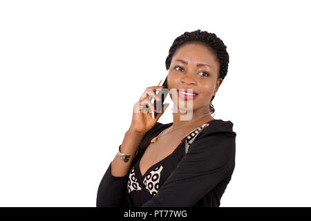 Portrait of beautiful smiling business woman on the phone on a white background. - Stock Image