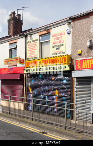Explosive Fireworks Ltd wholesale and retail shop, Albert Road, Farnworth. The company supplies fireworks all year round. - Stock Image