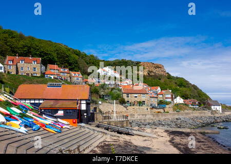 The small village of Runswick Bay with quaint houses and cottages mainly for holiday lets or second homes in North Yorkshire England - Stock Image