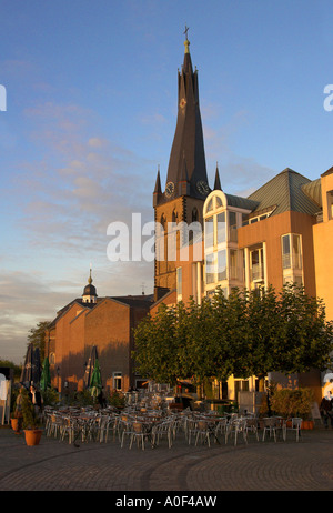 St Lambertus Church Fronting the River Rhine in Dusseldorf Germany - Stock Image
