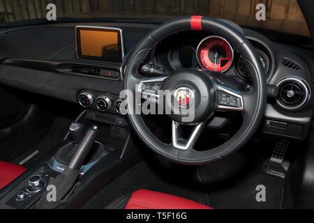 2018 Fiat 124 Abarth Spyder dashboard - Stock Image