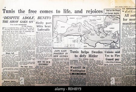 North Africa map and article Tunisia in the Second World War 2 WWII Daily Express newspaper 'Tunis the free comes to life and rejoices' May 13 1943 - Stock Image