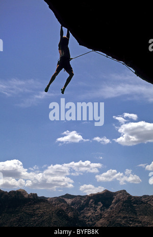 Male rock climber at Red Rock, Nevada, USA - Stock Image