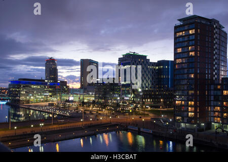 Dusk at MediaCityUK Complex, the broadcasting and digital creativity centre located at Salford Quays near Manchester. - Stock Image