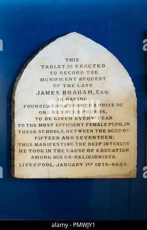 Liverpool Kensington Deane Road Cemetery Old Hebrew Congregation opened 1837 restored 2012 National Lottery gravestone James Braham philanthropist - Stock Image