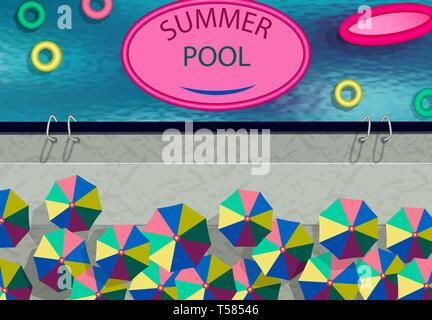 Stylized as a photo from the drone. Summer Pool, umbrellas, swimming circles. illustration - Stock Image