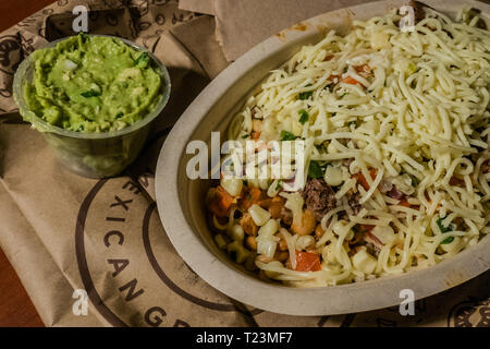 chipotle take out bowl - Stock Image