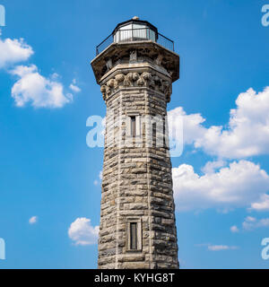 The Lighthouse, Roosevelt Island, New York, NY, August 2017. The Gothic style octagonal stone light house is on - Stock Image
