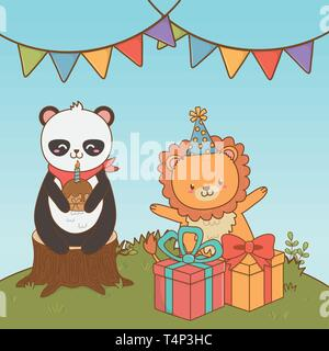 birthday card with cute animals woodland vector illustration design - Stock Image