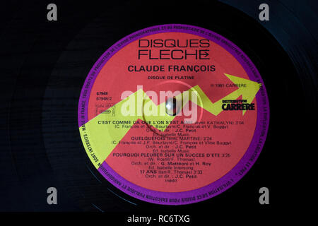 Claude Francois vinyl record & label - Disque De Platine compilation album (released 1981) - Stock Image