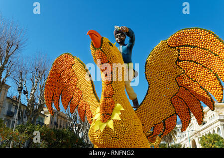 February 16th 2019 Menton, France,  the 86th LEMON FESTIVAL (Sinbad the sailor and Roc closeup) during the Carnival of NICE - Stock Image