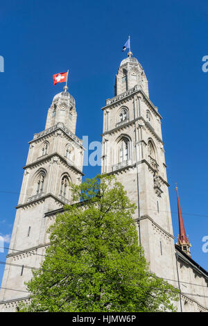 The towers of the Grossmunster, Zurich, Switzerland - Stock Image