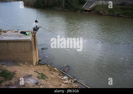 Fishing on the river - Stock Image