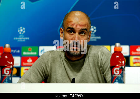 Manchester, UK. 16th Apr, 2019. UEFA Champions League football, Manchester City press conference and training session ahead of their 2nd leg quarter final fixture against Tottenham Hotspur; Manchester City coach Pep Guardiola speaking to the media during today's press conference at the Manchester City Football Academy Credit: Action Plus Sports/Alamy Live News - Stock Image