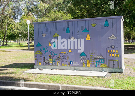 Electric sub station in Bicentennial Park decorated by Tamworth Regional Art Collective. Tamworth NSW Australia. - Stock Image