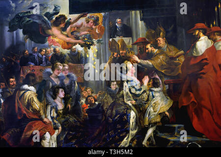 The Coronation in Saint-Denis - The Marie de' Medici Cycle 1622-1624  by Peter Paul Rubens commissioned by Queen Marie de' Medici, widow of King Henry IV of France, for the Luxembourg Palace in Paris, - Stock Image