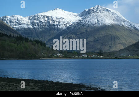 Beinn a Bheithir and Loch Leven in the Scottish highlands in winter - Stock Image