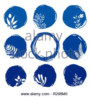 Vector sketch of floral blue ink spots with hand drawn floral elements. - Stock Image