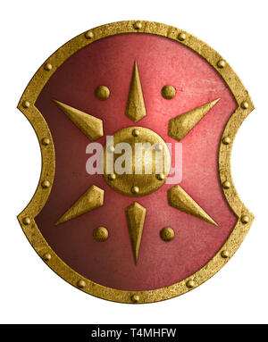 Large red shield with golden star isolated on white - Stock Image
