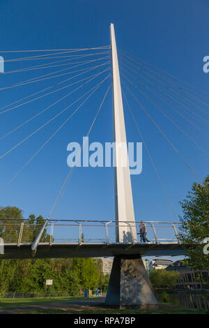 Christchurch pedestrian and cycle cable-stayed suspension bridge over the Thames at Reading. - Stock Image