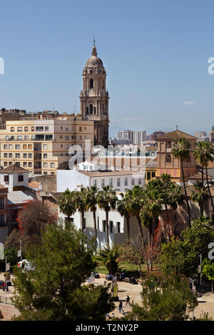 Malaga Andalusia Spain - a view across the old town to the cathedral, Malaga city, Andalucia, Spain Europe - Stock Image