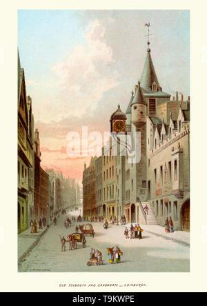 Vintage print of Old Tolbooth and Canongate Edinburgh Scotland, circa 1880 - Stock Image