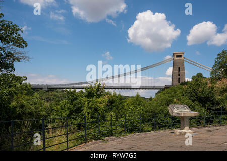 The Clifton Suspension Bridge & The Lookout information on stone lectern, Bristol, UK - Stock Image