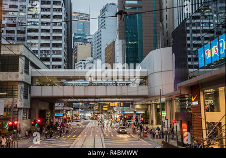 A busy scene showing the offices and local transport on the Causeway Bay district of Hong Kong China. - Stock Image
