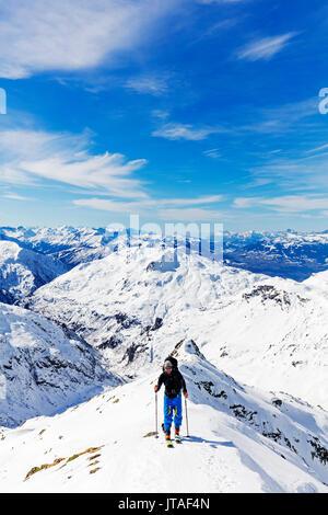 Ski touring on Mont Buet, Chamonix, Rhone Alpes, Haute Savoie, French Alps, France, Europe - Stock Image
