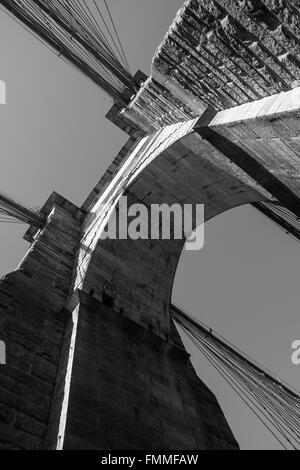 upward view on the Brooklyn Bridge - Stock Image