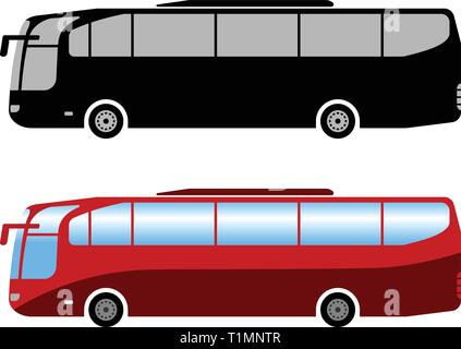 coach bus simple illustration - vector - Stock Image