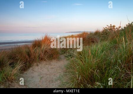 Looking out to sea over a grass covered sand dune at sunrise - Stock Image