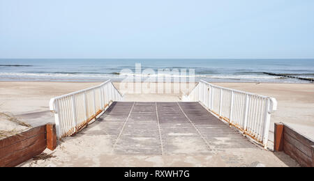View of a beach entrance, color toning applied. - Stock Image