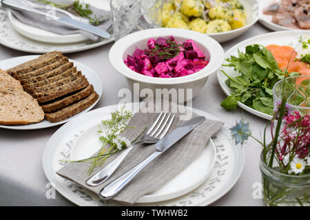 Table setting for midsummer party - Stock Image