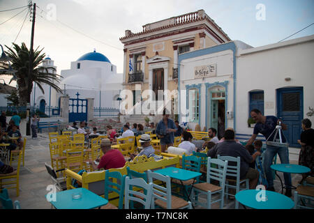 Greece, Cyclades islands, Serifos, Old Town (Chora), Town Hall Square - Stock Image
