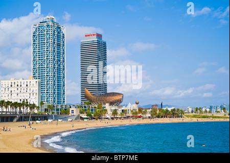 Beach at Port Olimpica, Barcelona, Catalonia, Spain - Stock Image