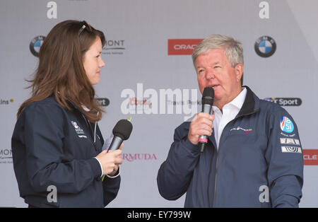 Portsmouth, UK. 23rd July 2015. Sir Keith Mills is interviewed about his aspirations for the America's Cup and - Stock Image