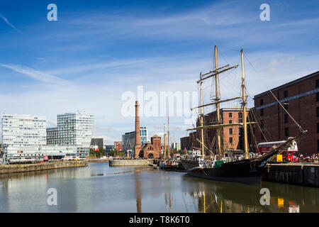 Pelican of London main mast barquentine tall ship moored in the Canning Dock outside the Maritime Museum at Liverpool Albert Docks. - Stock Image
