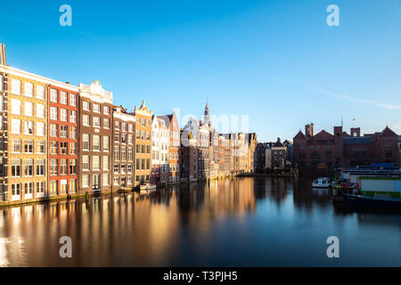 Traditional old house buildings in Amsterdam, Netherlands. - Stock Image