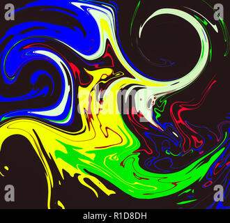 Abstract digital art - colourful swirls - Stock Image
