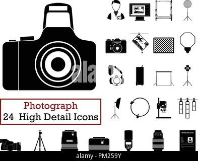 Set of 24 Photography Icons. Monochrome color design. Vector illustration. - Stock Image