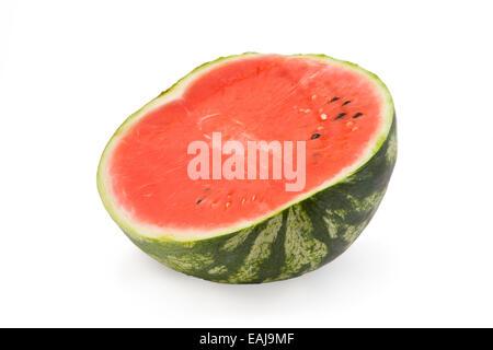 Fresh juicy watermelon, fruit isolated on white background - Stock Image