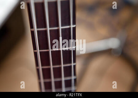 Soft focus on the wooden frets and metal strings of a bass guitar - Stock Image